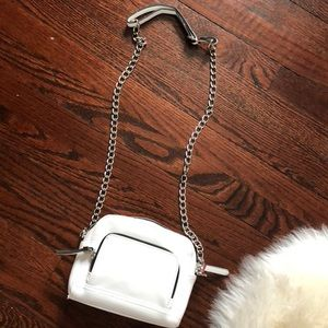 White Faux Leather Chain cross body Bag